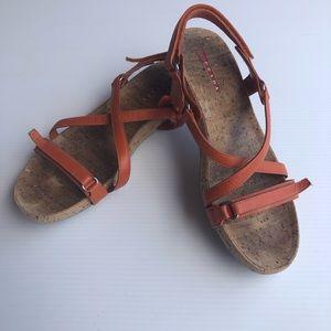 Prada Orange Strappy Velcro Sandals